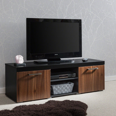 TV Stand Cabinet Unit with unique gas lift door - BLACK/WALNUT - Laura James