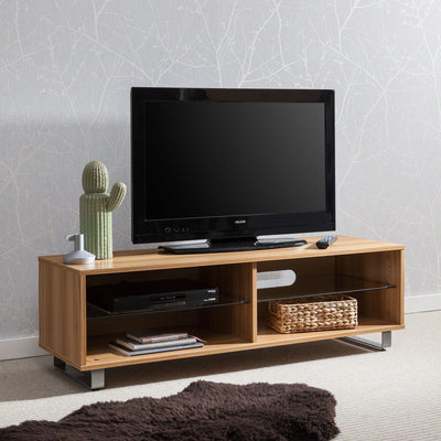 Beech TV Stand with Glass Shelf - Laura James