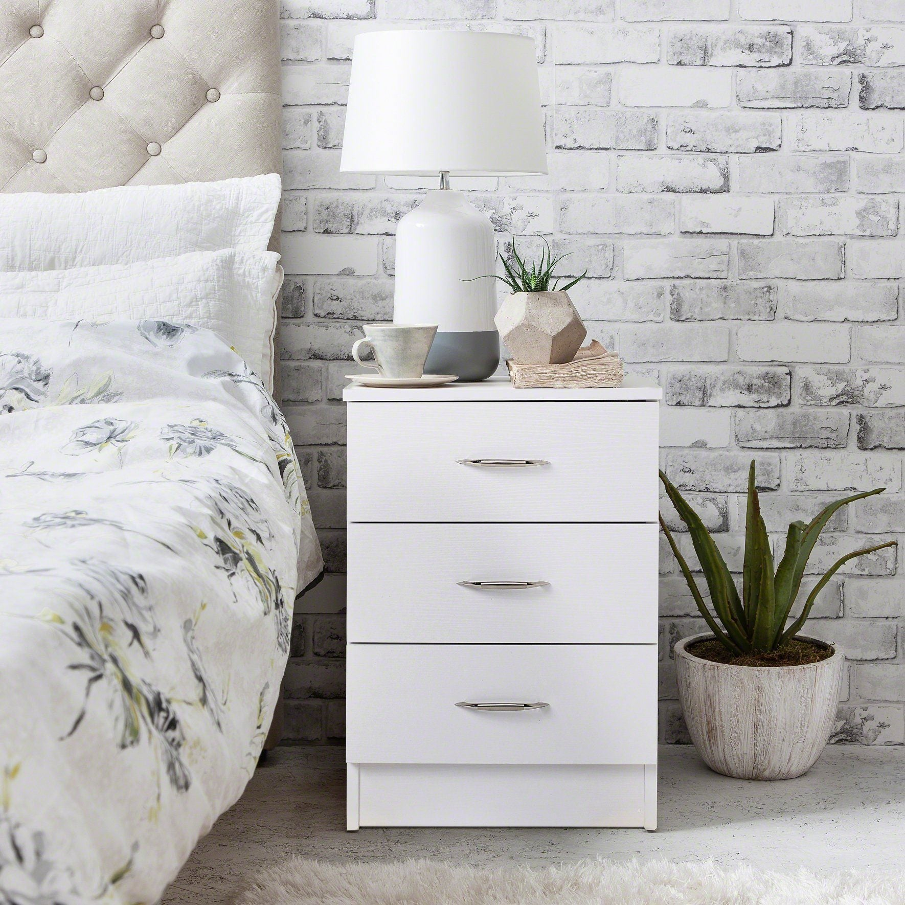 White Bedside Tables Cabinet - 3 Drawers - PRE-ORDER - IN STOCK – 23 - 24 September - Laura James