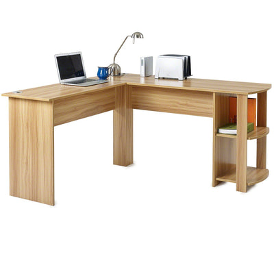 Beech L-Shaped Computer Desk with Shelves - Laura James