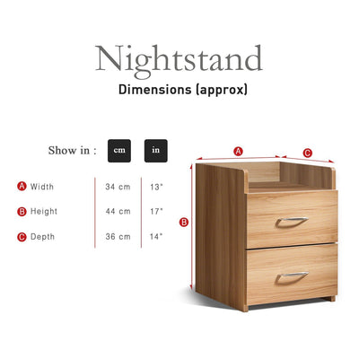 Bedside Table Nightstand with 2 Drawers (Beech) - Laura James