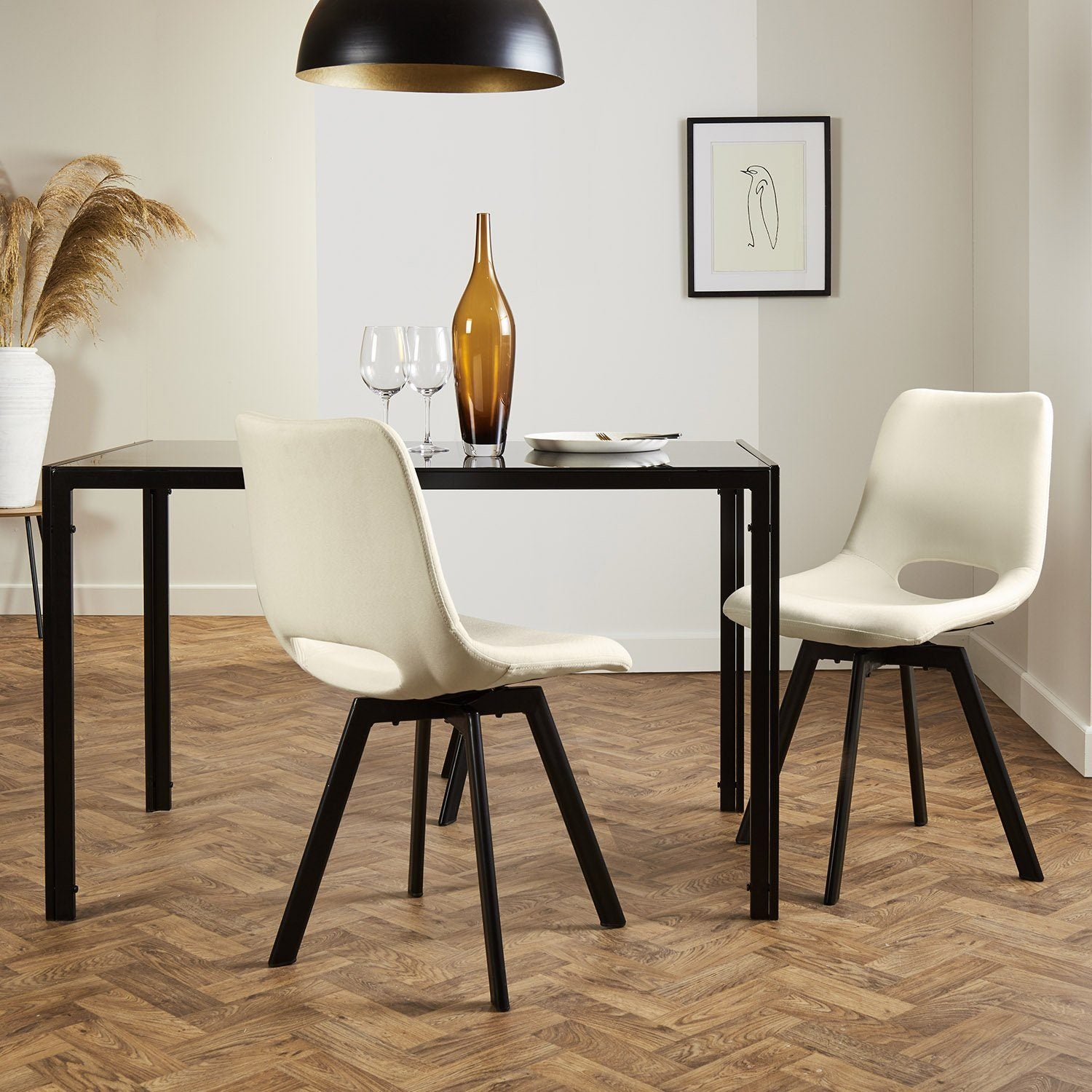 Margot dining chairs x2 - cream and black - Laura James