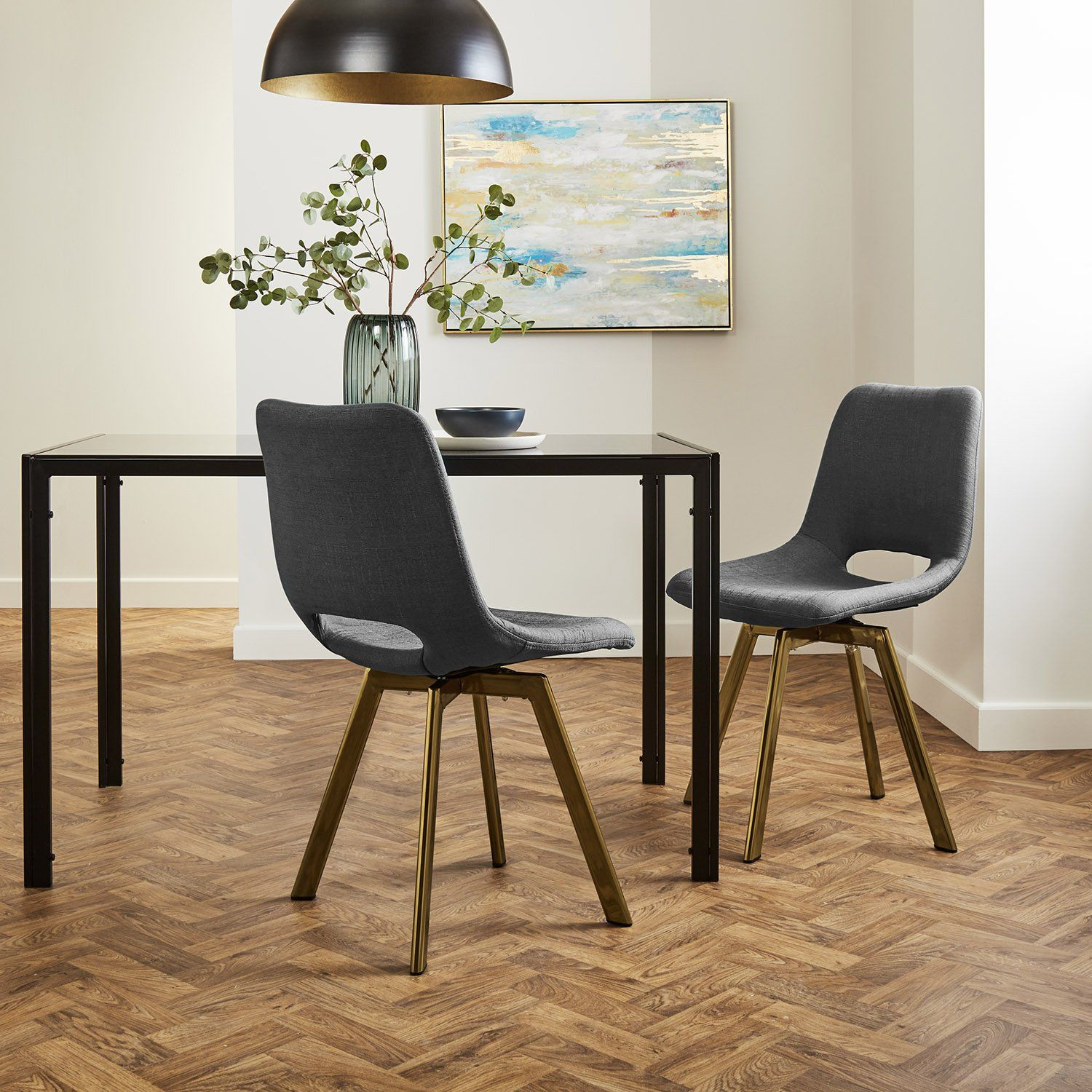 Margot dining chairs x2 - grey and brass- Laura James