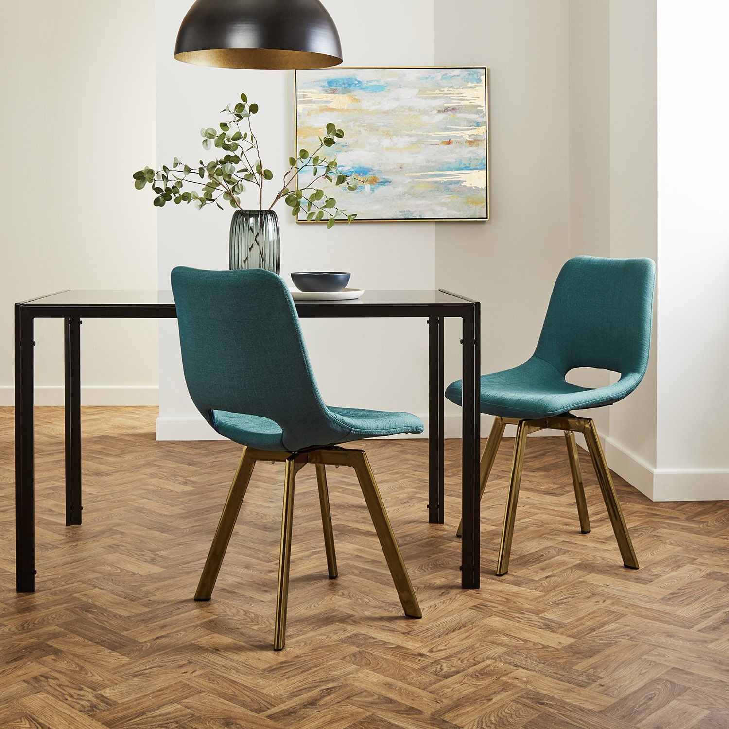 Margot dining chairs x2 - teal and brass- Laura James