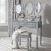 Monaco grey dressing table and stool set - Laura James