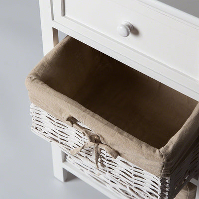 Ashford Bedside Table with Wicker Basket - Laura James