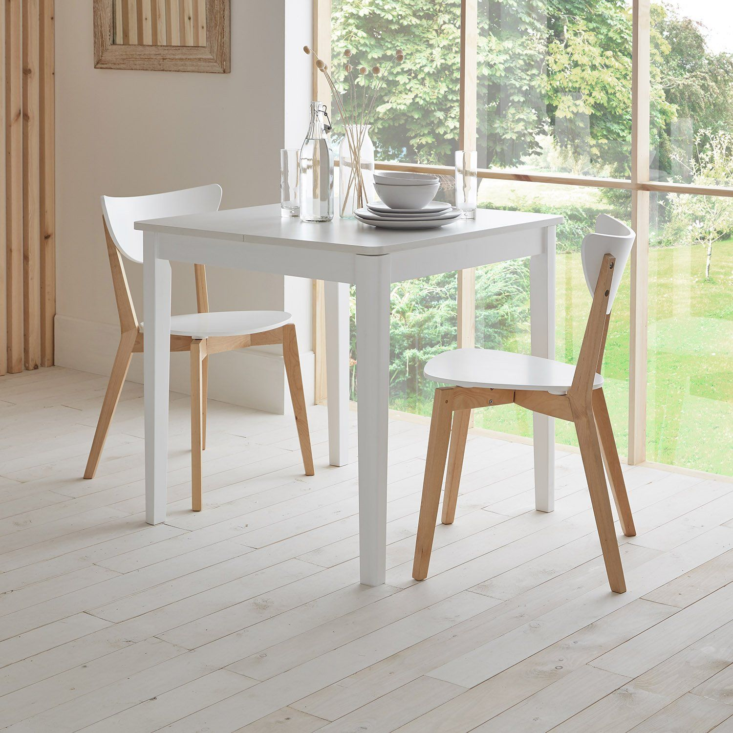 Paul extendable table with 2 chairs - small - white - Laura James