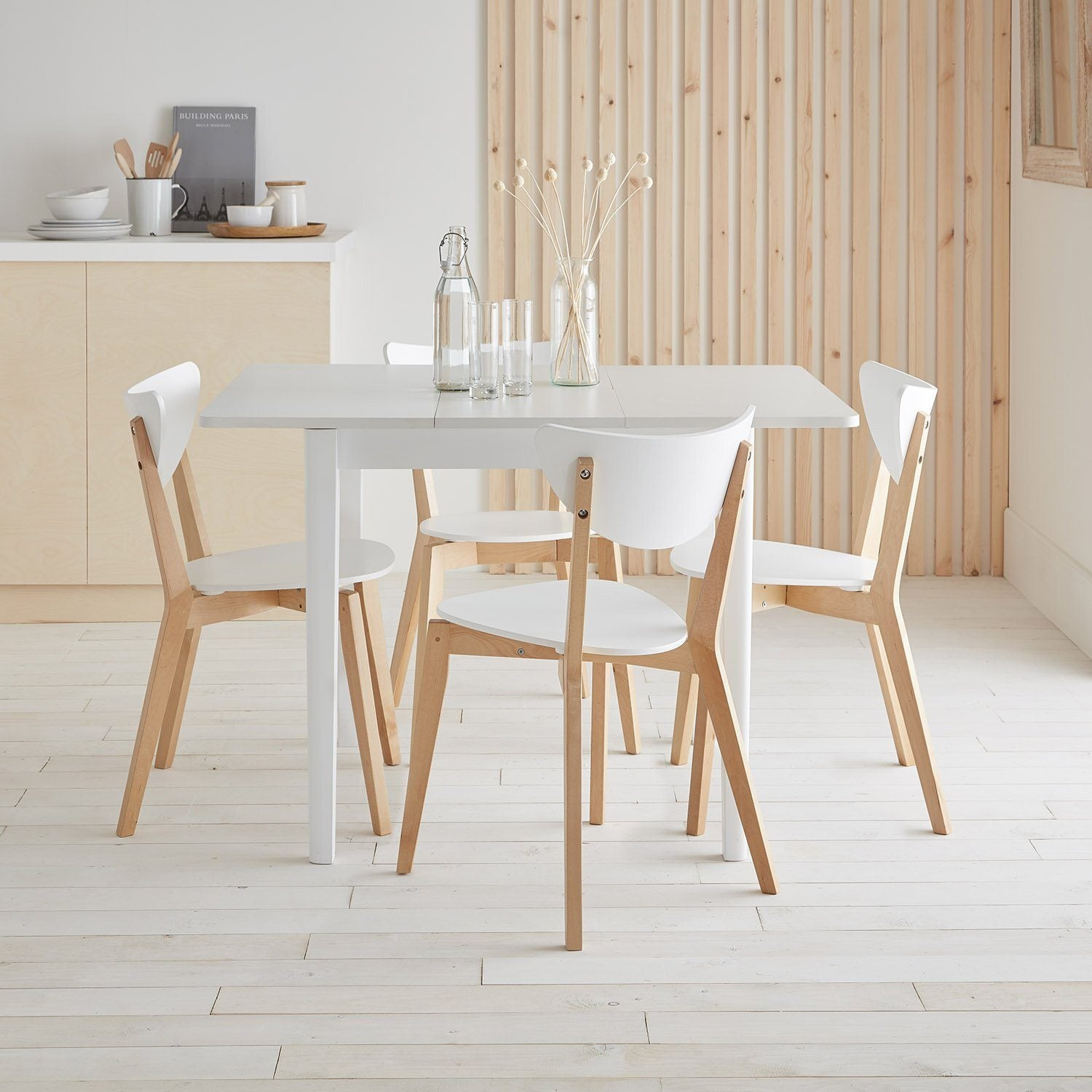 Paul extendable table with 4 chairs - small - white