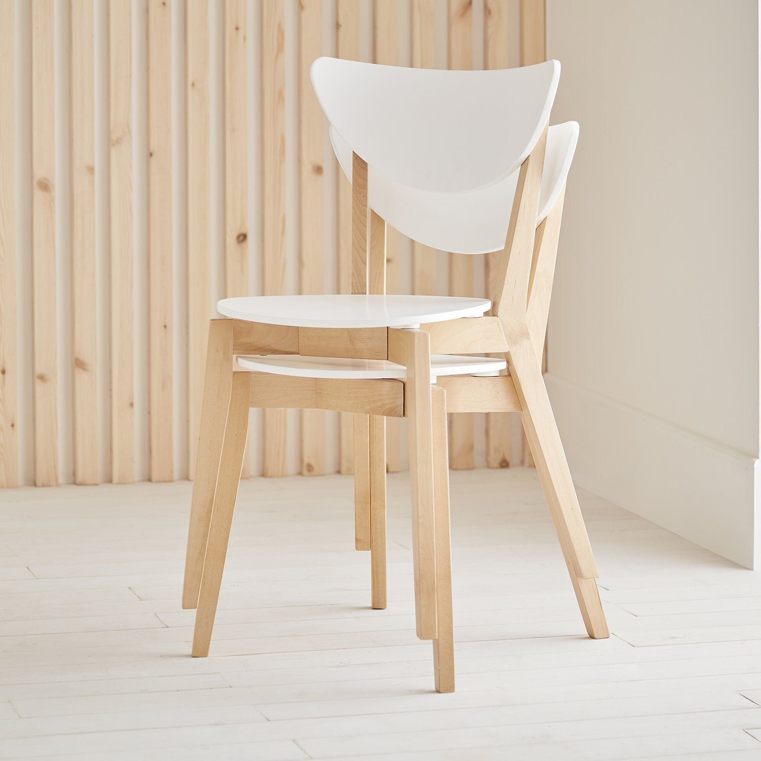 Paul stackable chairs x2 - white - Laura James