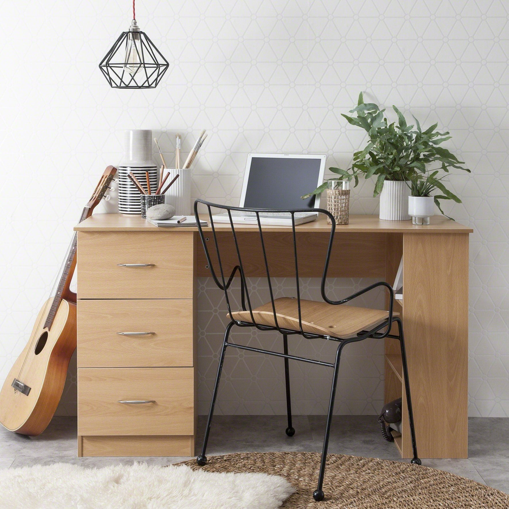 Beech Computer Desk with 3 Drawers / 3 Shelves - Laura James