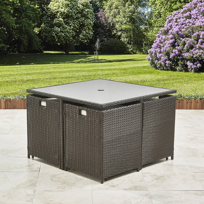 8 Seater Rattan Cube Dining Set - Outdoor Garden Furniture - (Mixed Brown Weave) - Laura James