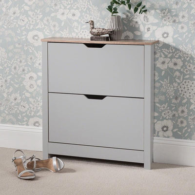 Grey Shoe Cabinet Wooden Storage - Laura James