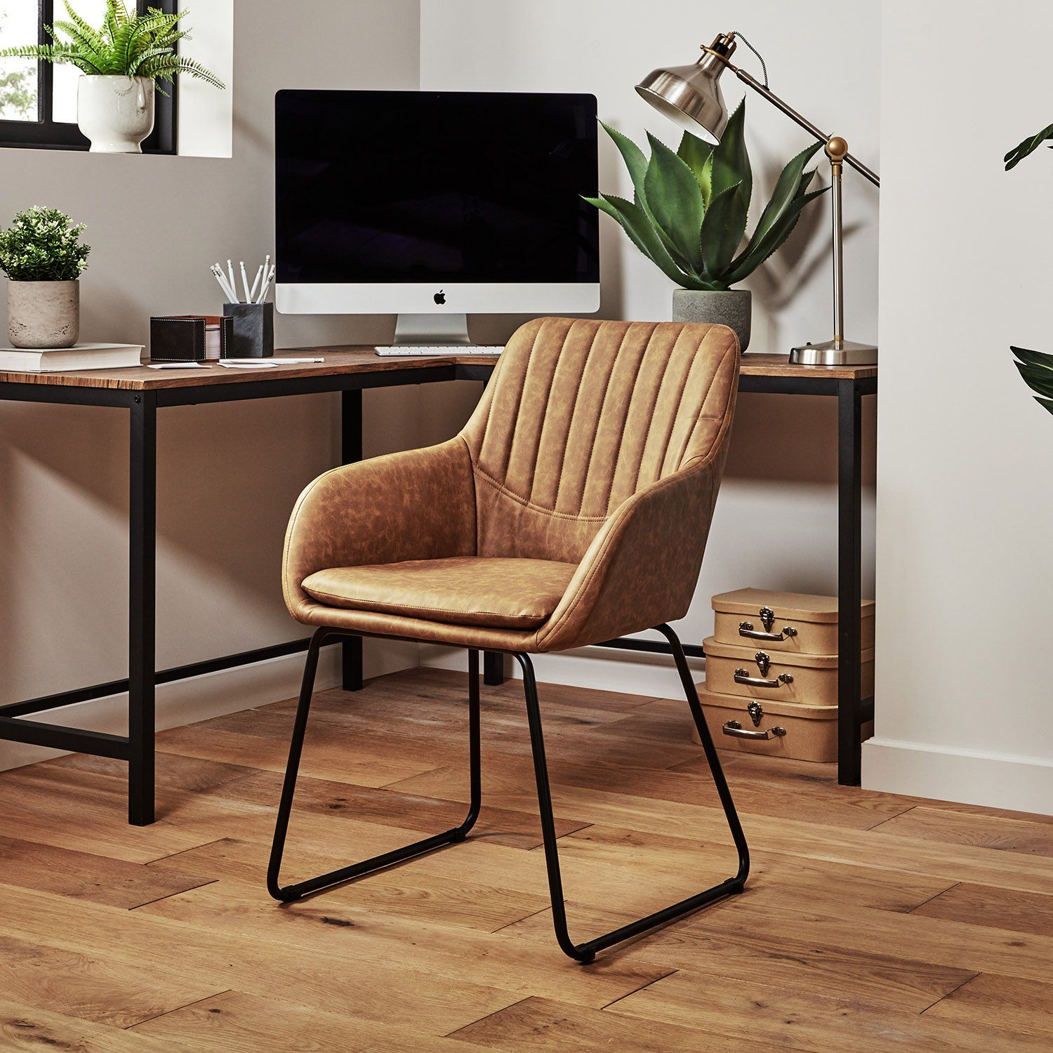 Sheffield office chair – tan – faux leather - Laura James