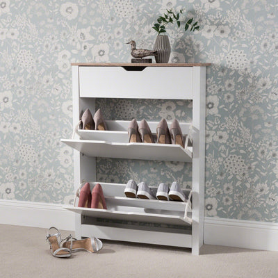 Shoe Cabinet Storage Wooden White - Laura James