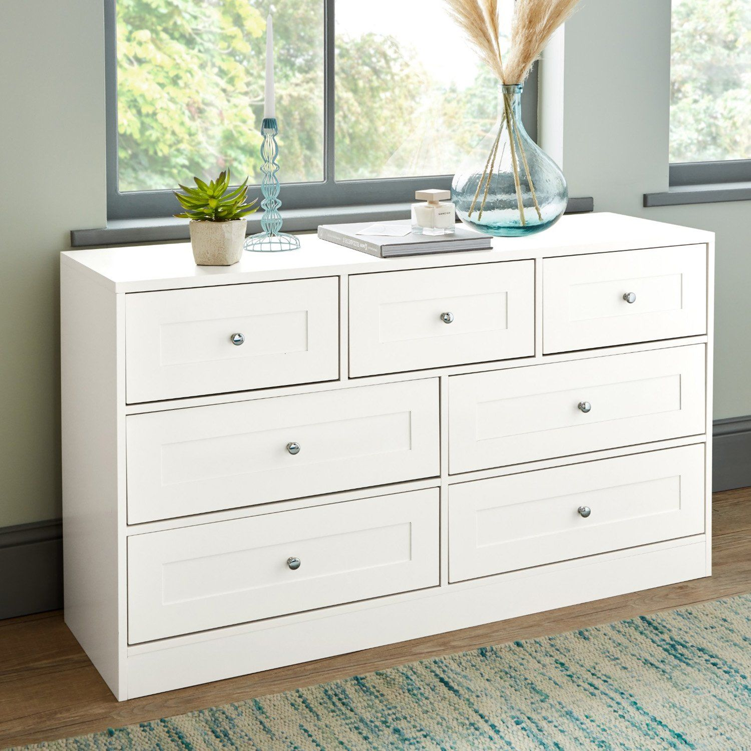 Stevie Chest of Drawers - 3 Over 4 - White - Laura James