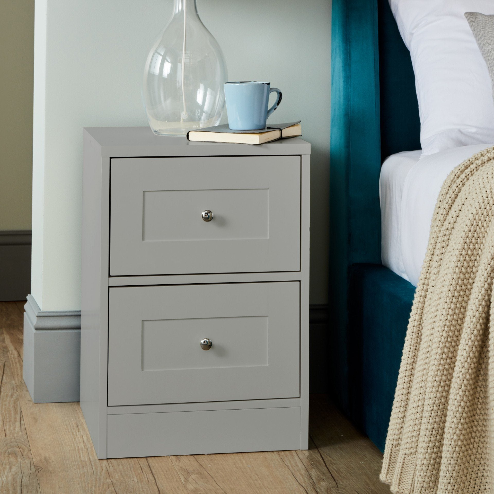 Stevie Shaker Style Bedside Table Grey - Laura James