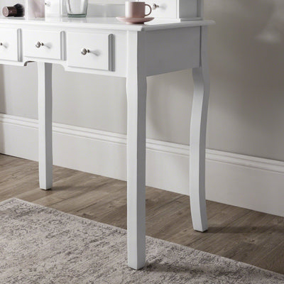 Vienna Dressing Table, Mirror & Stool Set - White Painted - Laura James