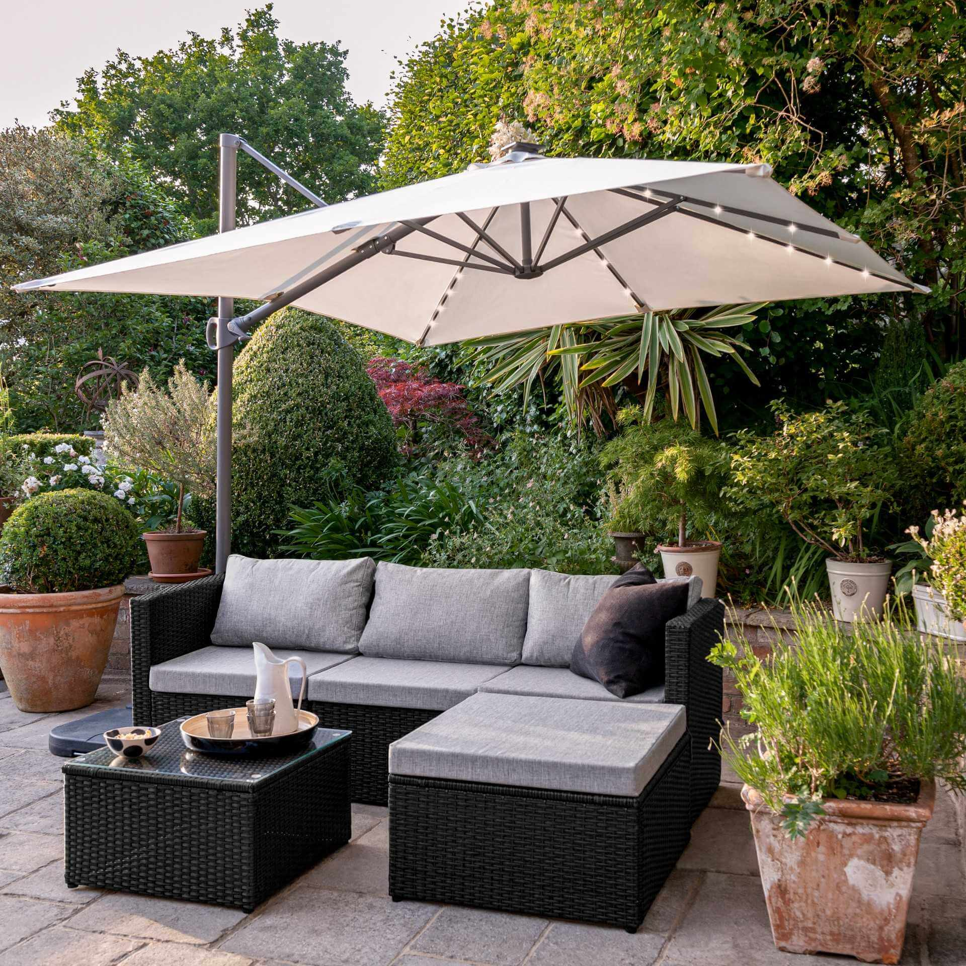 4 Seater Rattan Corner Sofa Set with Cantilever Parasol and Base - Black Weave - Laura James