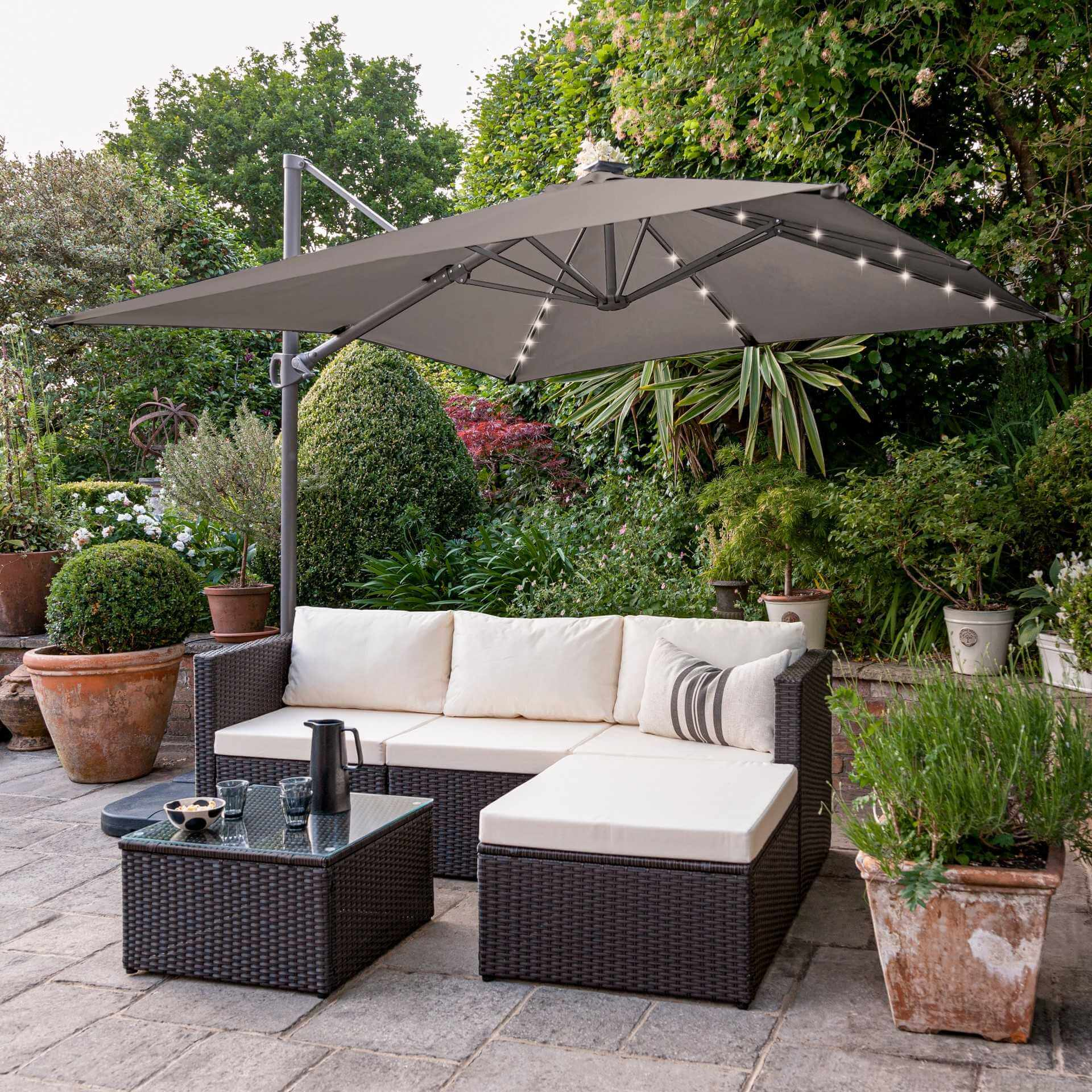 4 Seater Rattan Corner Sofa Set with LED Cantilever Parasol and Base - Brown Weave