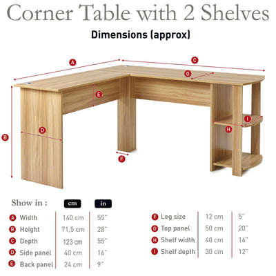 Beech L-Shaped Computer Desk with Shelves