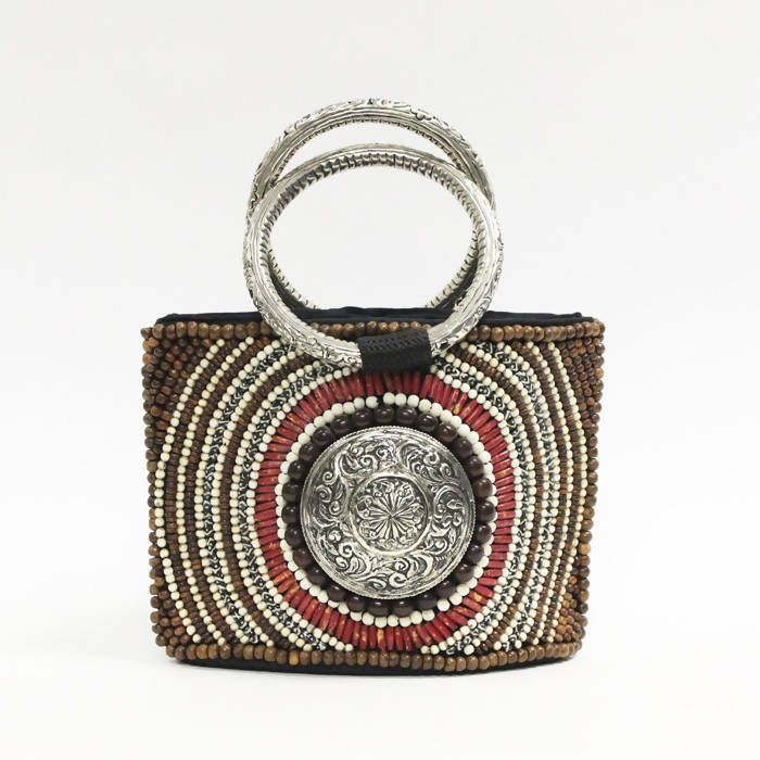 Culture Shock Ornate Coral Bone Beaded Handbag