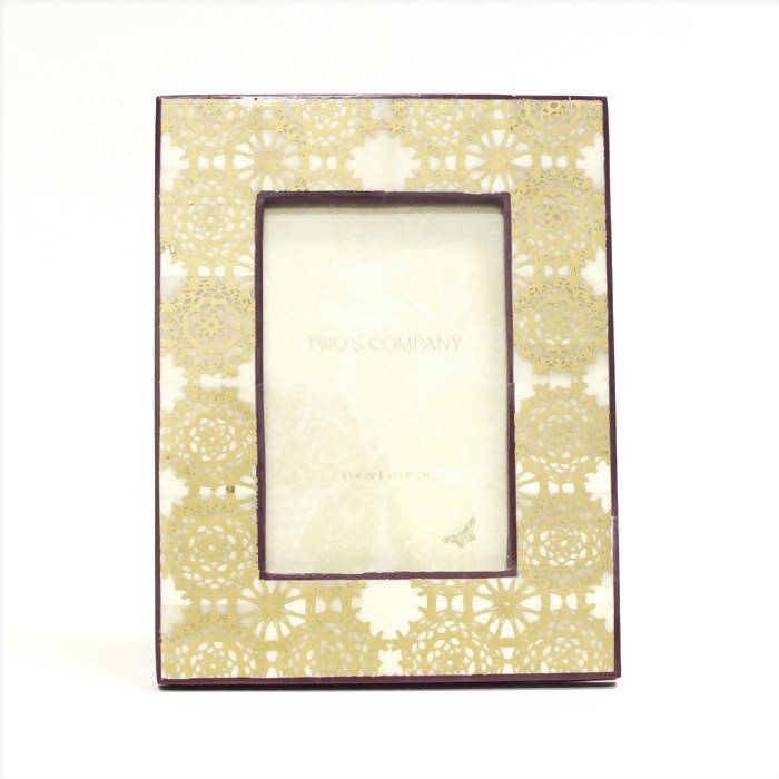 Two's Co. Gold Print Photo Frame - Purple