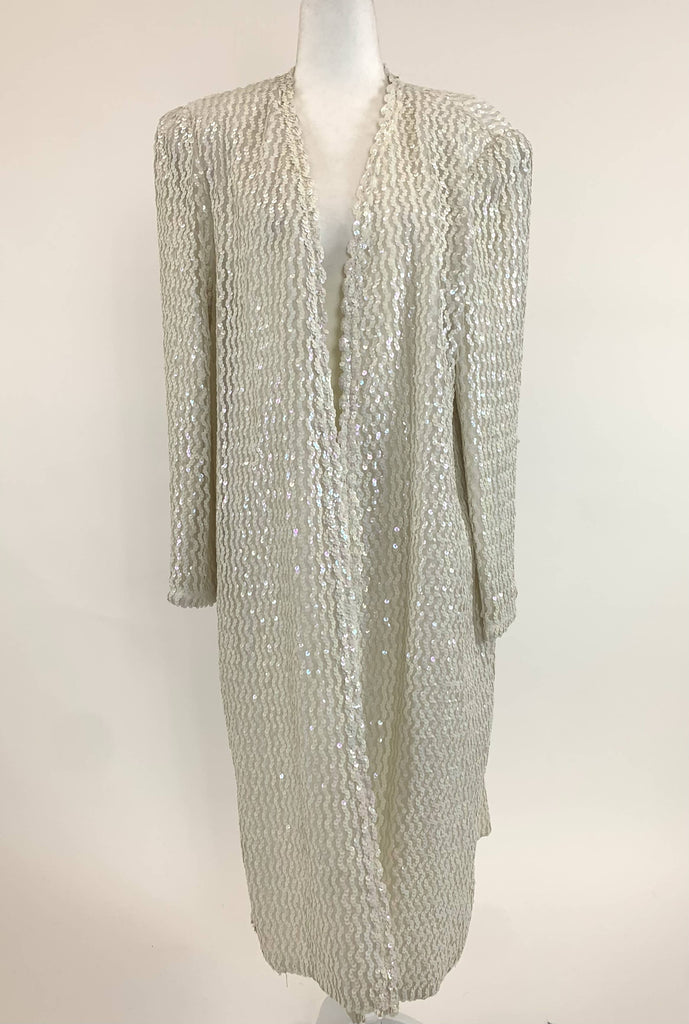 Three flaggs Ivory Sequin Duster Coat Large - Vintage dress/clothing