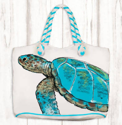 Rope Handle Canvas Bag with Big Turtle