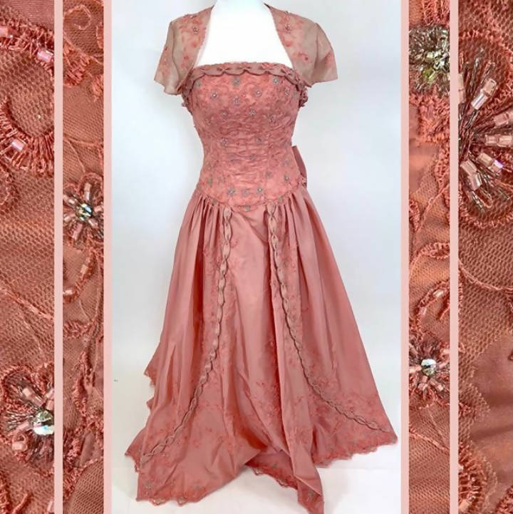 Mary's Coral Gown 3PC - Size 4 (preowned not a vintage dress)