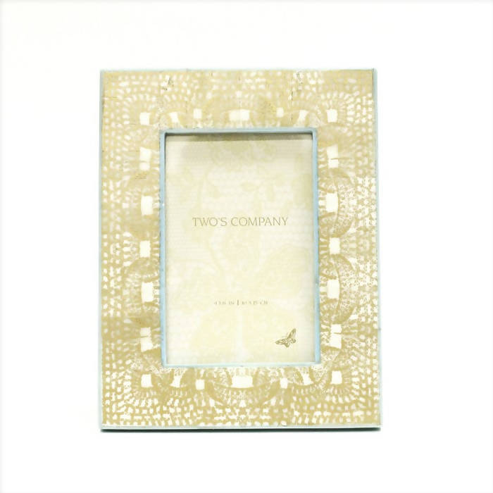 Two's Co. Gold Print Photo Frame - Aqua