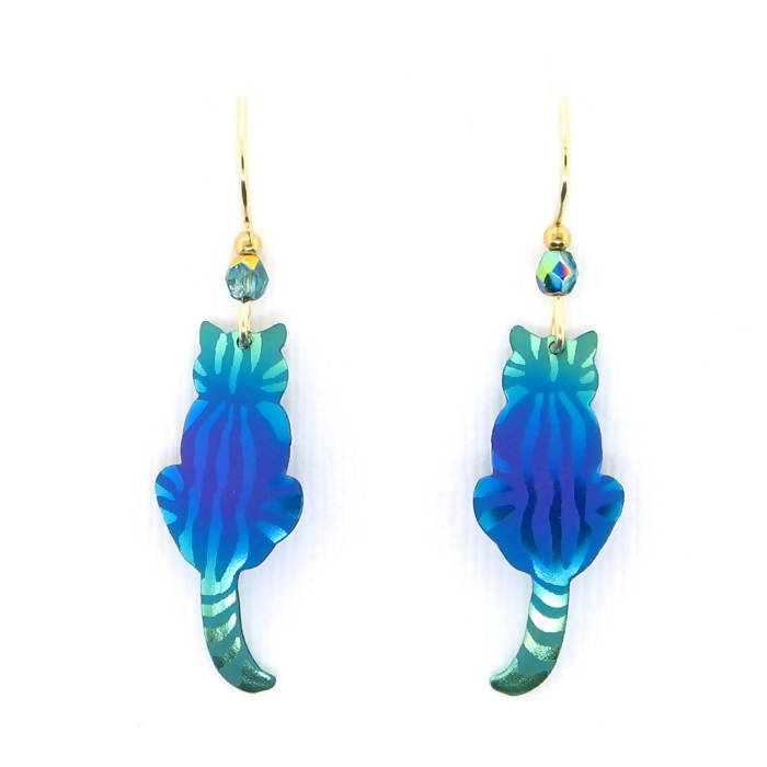 Holly Yashi Sitting Kitty Earrings - Purple/Turquoise