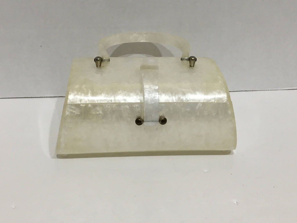 Bag Vintage 1950's lucite off white