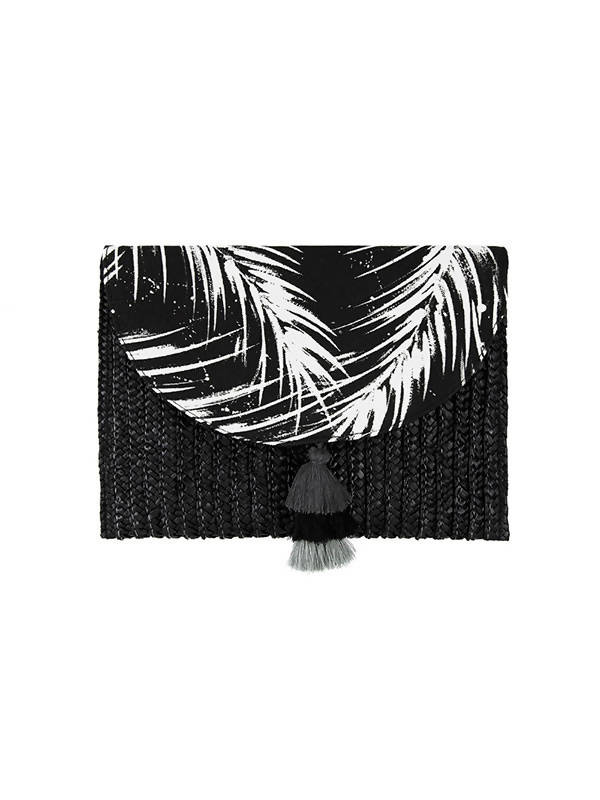 Laura Janelle Black Cabana Palm Straw Clutch