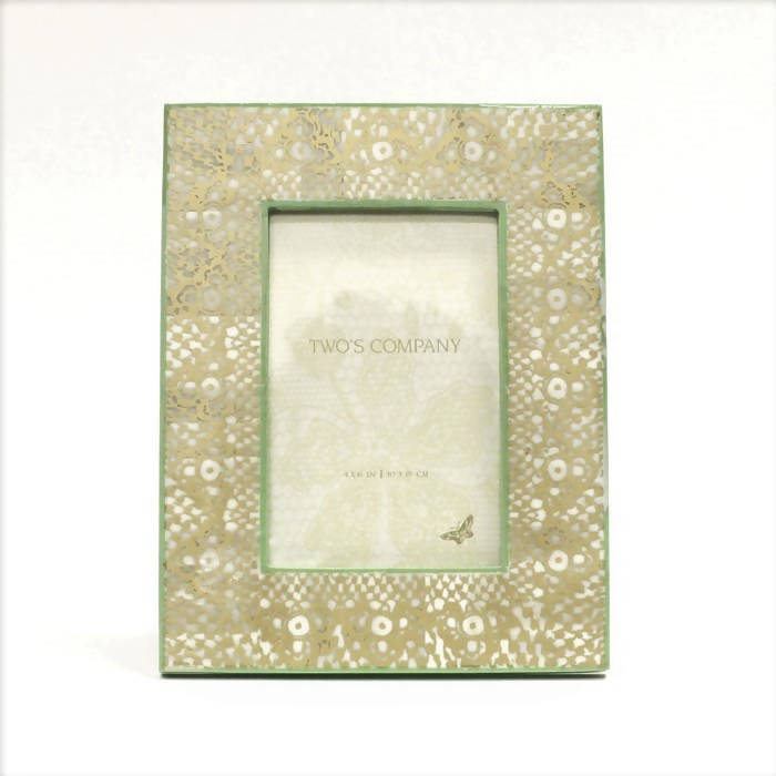 Two's Co. Gold Print Photo Frame - Green