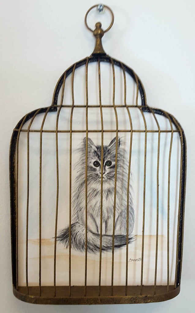Painting of kitty in a cage