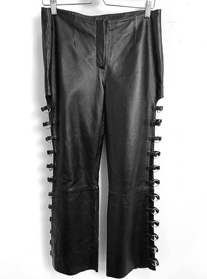 Wilsons Leather Pants Metal Rings Size-8 (vintage dress/clothing)