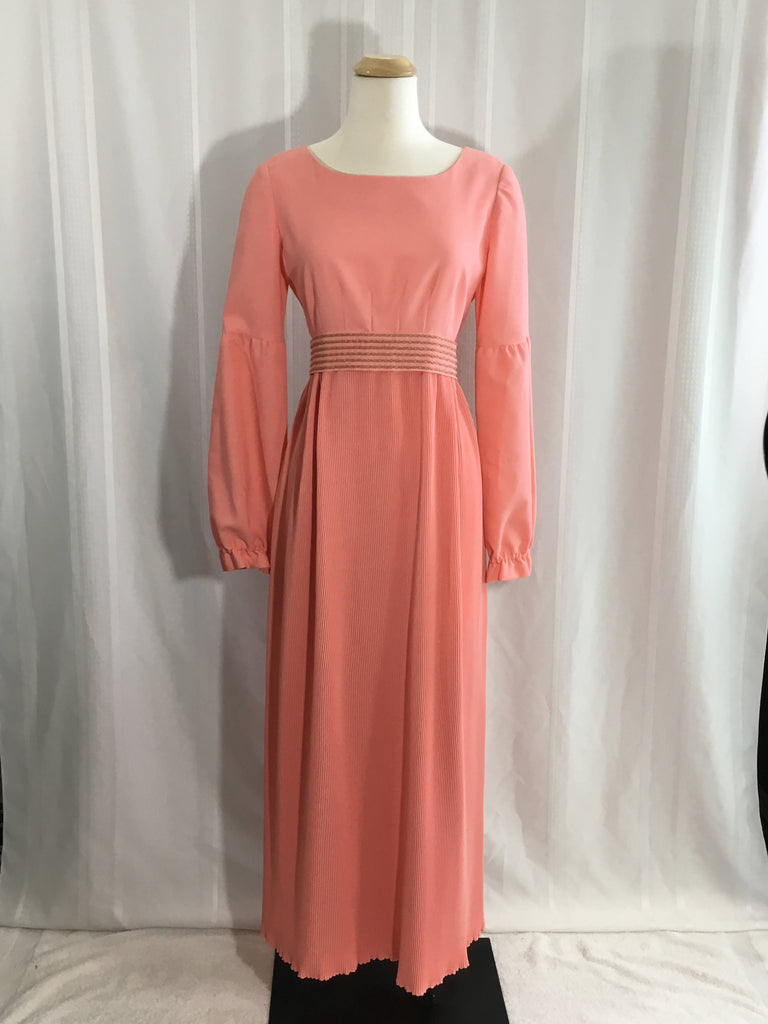 A Vintage Dress hand made coral color maxi