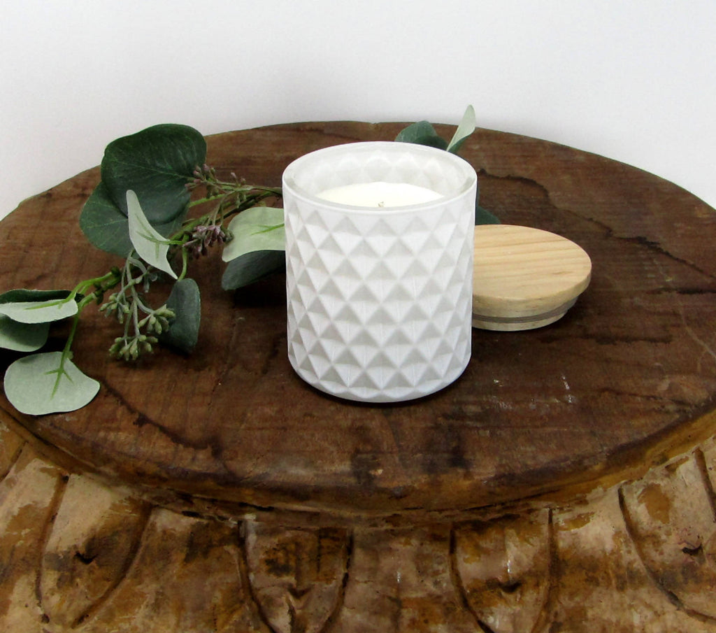 White Studded Glass Candle