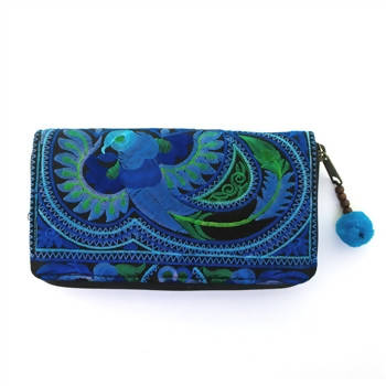 Wallet - Amano Royal Blue Embroidered Bird