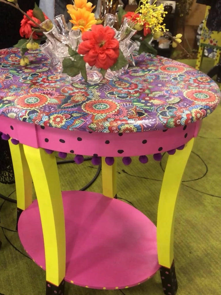 Hand painted pink oval table