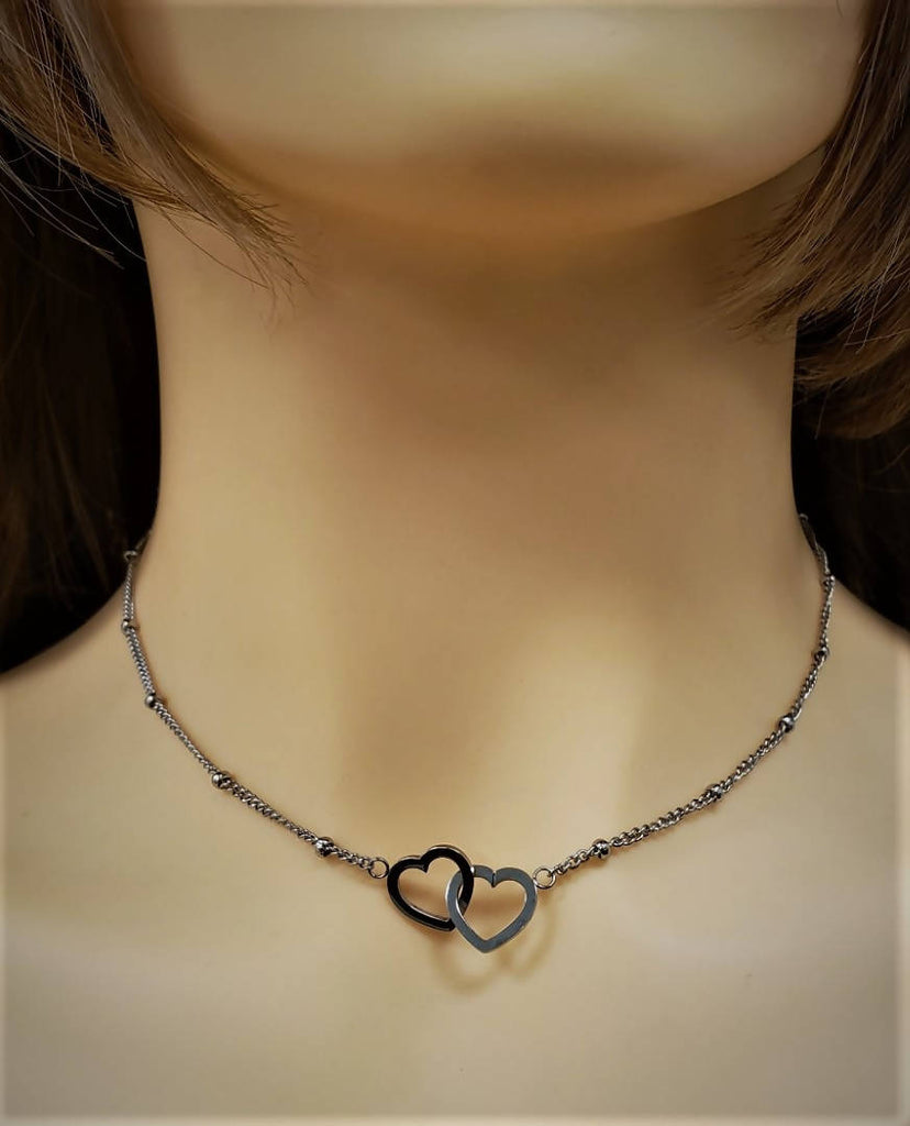Stainless steel with double hearts - SN 106