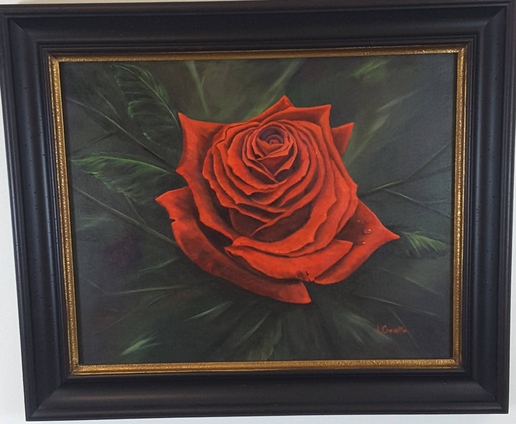 Red Blaze Rose Painting