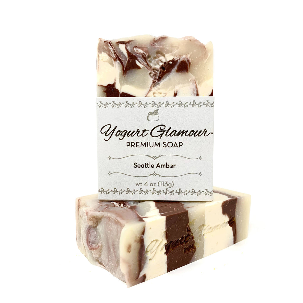 Seattle Amber Beer Yogurt Rustic Natural Handmade Bar Soap-Warm and Woodsy Scent with a Hint of Chocolate(4 oz)