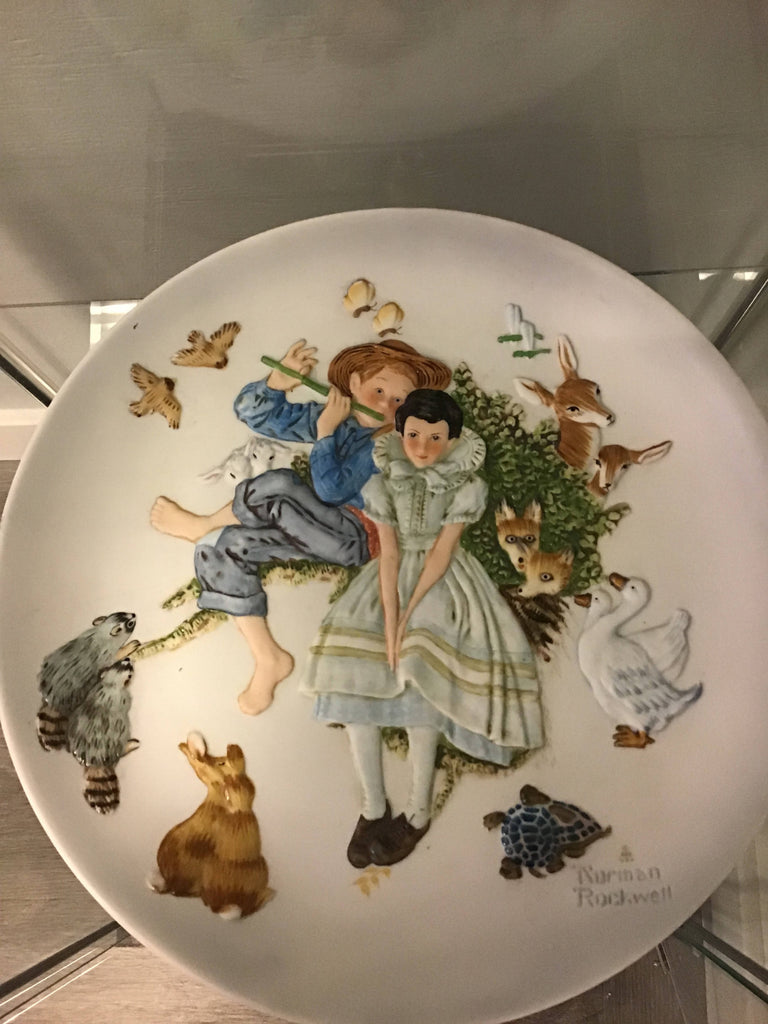 Norman Rockwell kids and animal print plate