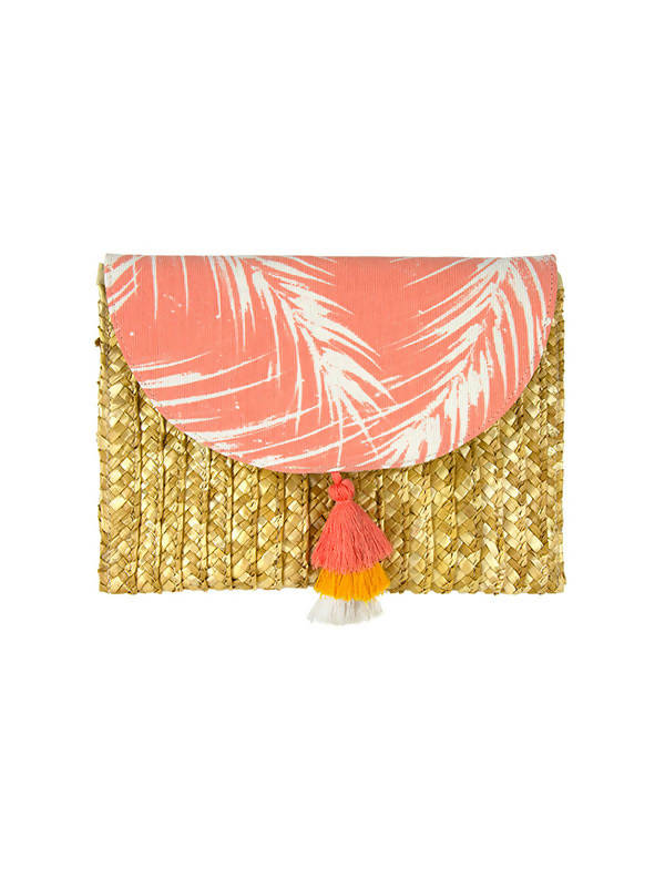 Laura Janelle Coral Cabana Palm Straw Clutch