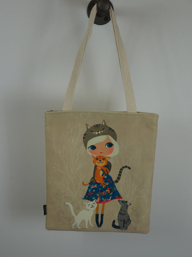 Cute Cats Tote Bag with Girl