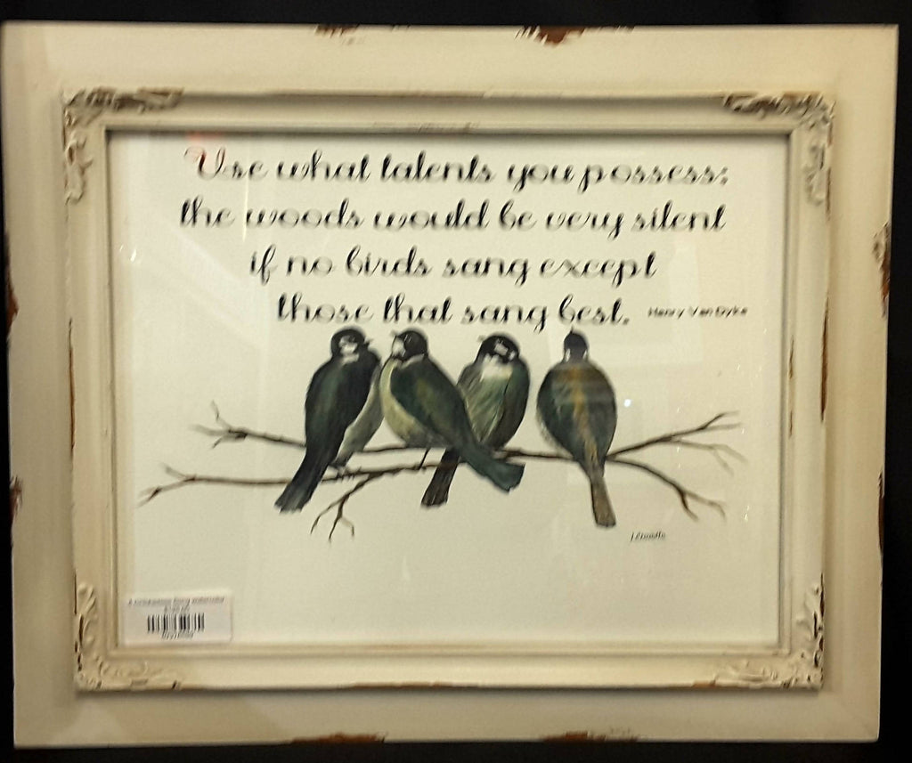 4 Chickadees Song watercolor