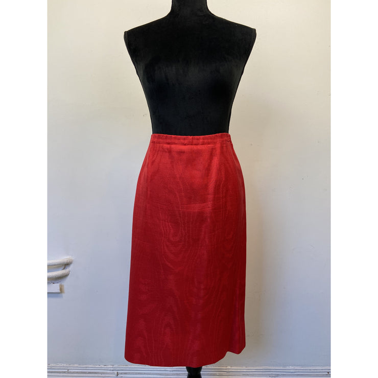 Red Vintage Silk Skirt