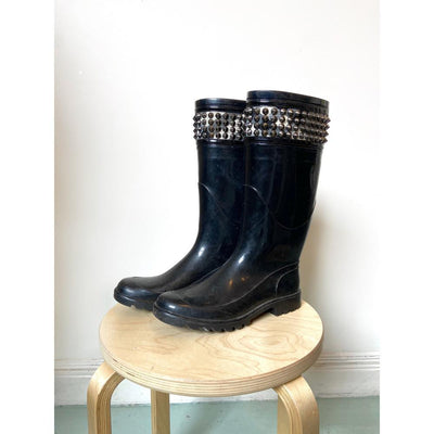 Studded Check Trim Boots Boots by Burberry