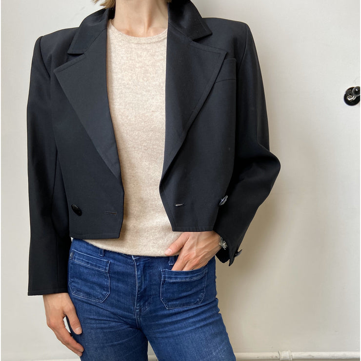Black Cropped Vintage Blazer by Yves Saint Laurent